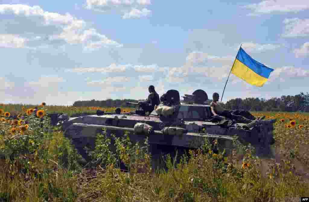 Український бронетранспортер на околицях міста Миколаївка, що неподалік Слов'янська, 5 липня 2014 року