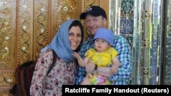 Iranian-British aid worker Nazanin Zaghari-Ratcliffe (left) is shown with her husband, Richard Ratcliffe, and her now 4-year-old daughter, Gabriella.