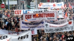 Protesters in Toulouse demonstrate against pension reform on October 16.