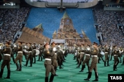 The closing ceremonies of the Moscow Olympics, which ran from July 19 to August 3, 1980.