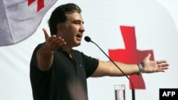 President Mikheil Saakashvili addresses supporters at a rally of his ruling United National Movement party in Batumi on September 29, 2012.