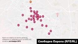 Карта на замерването за азотен диоксид в София през октомври