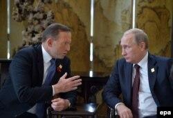 Тони Эбботт и Владимир Путин на саммите АТЭС в Пекине. 11 ноября