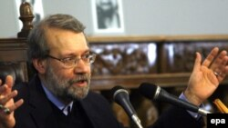 "Iranian parliament speaker and former nuclear negotiator Ali Larijani (in file photo) said lawmakers will ""review Iran's relations with those countries that voted...against us."""