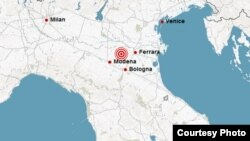 Місцевість, де стався землетрус 20 травня 2012 року