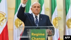 "Rudy Giuliani, Former Mayor of New York City speaks to the Organization of Iranian American Communities during their march to urge ""recognition of the Iranian people's right for regime change"". September 24, 2019"