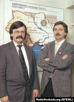 Богдан Нагайло (ліворуч), тодішній директор Української редакції Радіо Свобода, і його заступник Михайло Мигалисько в радійному офісі в Мюнхені