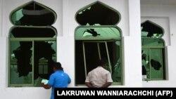 مسجدی که در نزدیکی پایتخت سریلانکا مورد حمله قرار گرفت