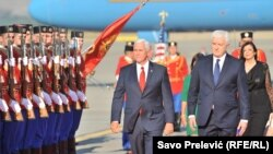 U.S. Vice President Mike Pence (left) upon his arrival in Podgorica with Montenegrin Prime Minister Dusko Markovic.