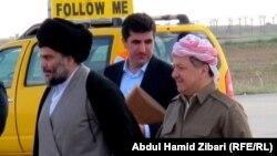 بارزاني يستقبل الصدر في مطار أربيل