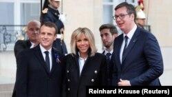 Predsednici Francuske i Srbije, Emanuel Makron i Aleksandar Vučić na ceremoniji u Parizu povodom Dana primirja u Prvom svetskom ratu