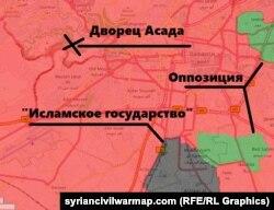 Всего несколько километров отделяют ИГ от резиденции президента Башара Асада в Дамаске. [Примечание: район Джоубар (зеленое пятно вверху справа) уже захвачен силами Асада].