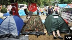 Antigovernment protesters were camped out in tents at the Gezi Park, near Taksim Square in Istanbul, on June 14, one day before police cleared the area.