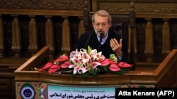 IRAN -- Iranian Parliament speaker Ali Larijani speaks during a press conference in the capital Tehran, December 3, 2018