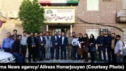 Members of the city council in the city of Abadan hosting journalists and reporters on the national day for reporters on August 16, 2018.