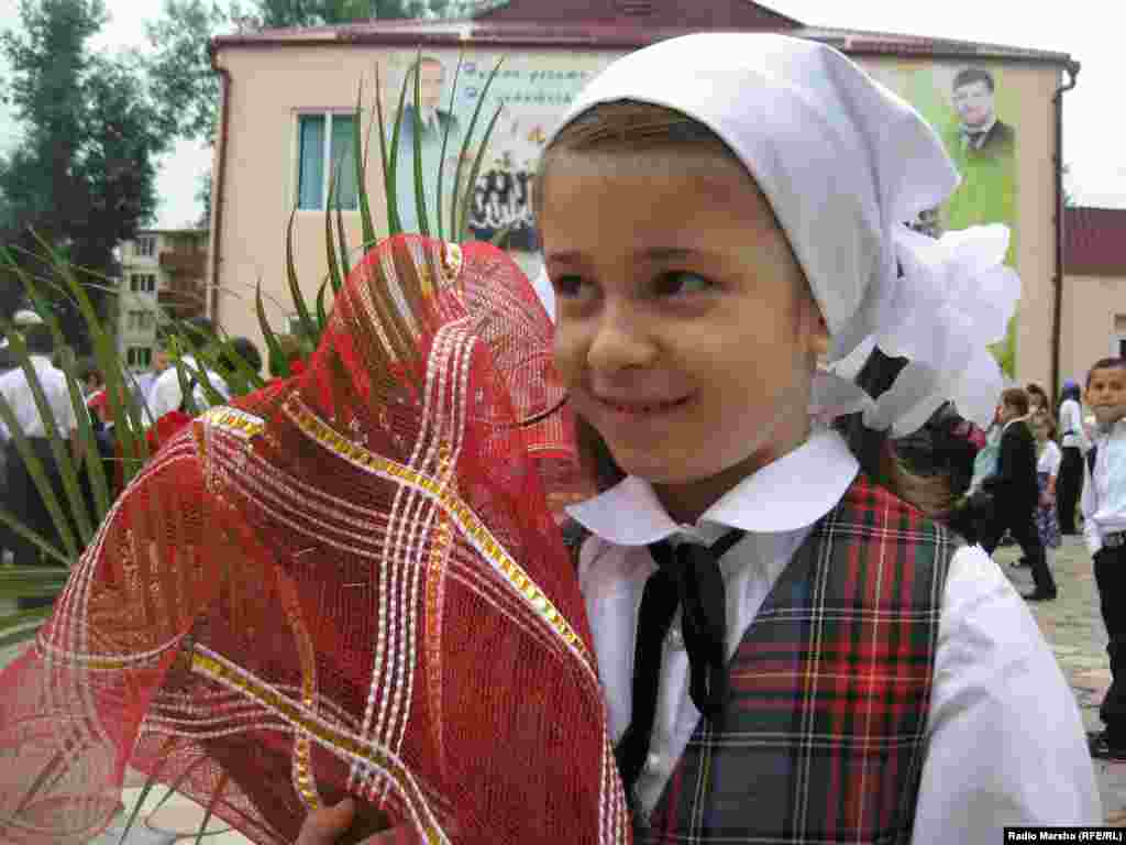 It's Fatima's first day of school at School No. 60 in Grozny, Chechnya.