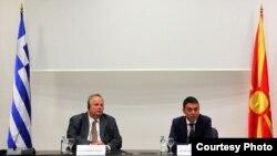 Архива: Средба на министрите за надворешни работи на Грција и Македонија Коѕиjас и Димитров во Скопје. 31.08 2017.