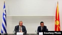 Архива: Средба на министерот за надворешни работи Димитров со министерот за надворешни работи на Грција, Коѕиас во Скопје.