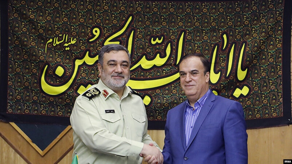 Iran's police chief with his Syrian counterpart Hassan Ma'arouf. Undated.