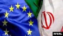 İran və Avropa Birliyinin bayraqları.