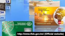 Türkmen banklarynyň çykaran Visa kartlary (arhiw suraty)