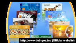 Türkmenistanyň banklaryndan berlen Visa kartlaryň nusgalary. Illýustrasiýa suraty.