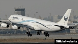 An Airbus of Iranian Aseman airlines taking off in Tehran's Mehrabad airport, undated.