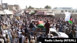 A protest against Afghan police in Paktika Province, July 2015.