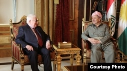 رئيس اقليم كردستان مسعود بارزاني مع رئيس الجمهورية فؤاد معصوم، اربيل، 4 آذار 2015