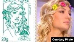 Лідерка FEMEN Інна Шевченко стала новим обличчям Маріанни, поштова марка. Фото з www.femen.org