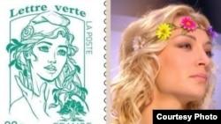 اینا شوچنکو و طرحی که با الهام از چهره او بر تمبر فرانسوی نقش بسته است