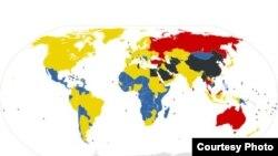نقشه سانسور اینترنتی در جهان.