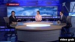 Скриншот передачи «Первого канала Казахстана», в которой говорилось о «доказательствах» проплаченности митингов.
