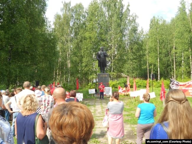 Митинг против пенсионной реформы в Вытегре