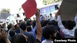 Tehran: Dozens demonstrated in front of parliament demanding release of Reza Shahabi from Prison.