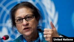 Special Rapporteur on the human rights situation in Iran Asma Jahangir. UN Photo/Jean-Marc Ferré