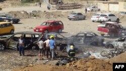 Pamje e vendit të ngjarjes pas një sulmi të mëhershëm me bombë në qytetin irakian Kirkuk