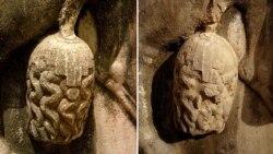 بخش آسیب دیده در سنگ نگاره «بهرام دوم» در تنگ چوگان