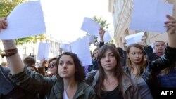 Акция протеста журналистов. Киев, 1 октября 2012 года.