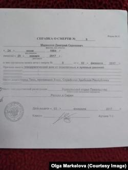 Справка о смерти Дмитрия Маркелова