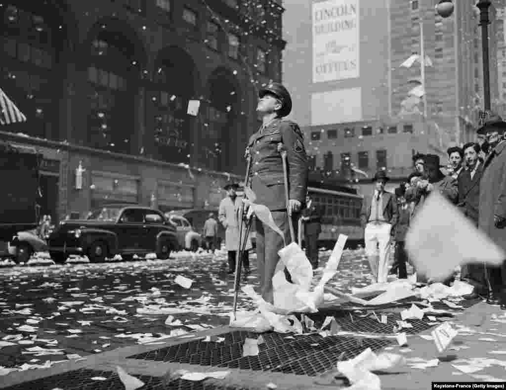 "Wounded U.S. Army Sergeant Arthur Moore ""while contemplating the general sense of euphoria"" in New York."