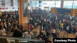 Хаос у аэрапортах праз адмены рэйсаў
