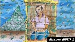 Ahmadboy hibsga olinganiga oid Eltuz. com rassomi Kirpi chizgan karikatura