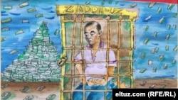 Аҳмадбой ҳибсга олинганига оид Eltuz. com рассоми Kirpi чизган карикатура