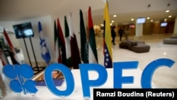 OPEC logo is pictured ahead of an informal meeting between members of the Organization of the Petroleum Exporting Countries (OPEC), File photo