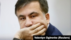Mikheil Saakashvili attends a court hearing in Kyiv on January 3.