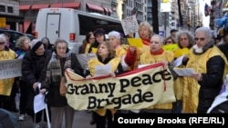 Grandmothers Against the War protest in New York on April 3.