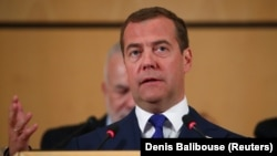Russian Prime Minister Dmitry Medvedev in Geneva in June