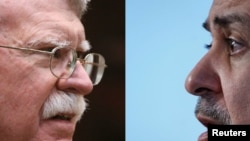 Collage of US National Security Adviser John Bolton and Iran FM Mohammad Javad Zarif