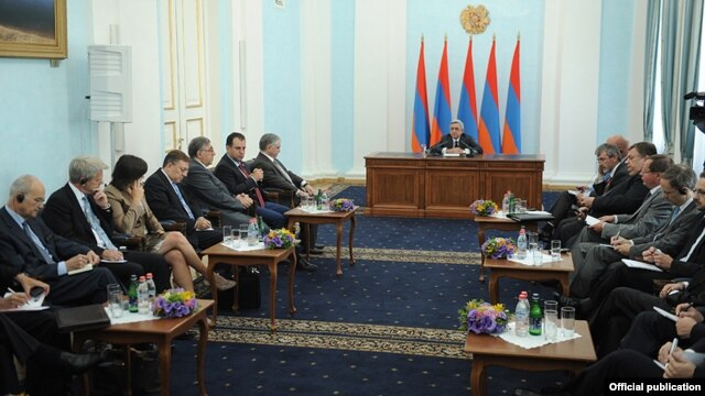 Armenia - President Serzh Sarkisian meets with visiting U.S., Russian and European ambassadors to the OSCE headquarters in Vienna, 7Sept2012.